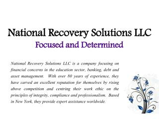 National Recovery Solutions LLC_Focused and Determined