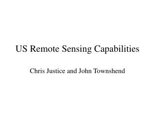 US Remote Sensing Capabilities