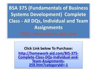 BSA 375 (Fundamentals of Business Systems Development) Comp