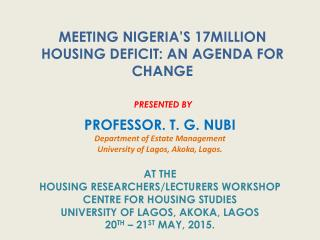 Meeting Nigeria's 17 Million Housing Deficit