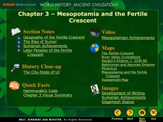 Chapter 3 – Mesopotamia and the Fertile Crescent