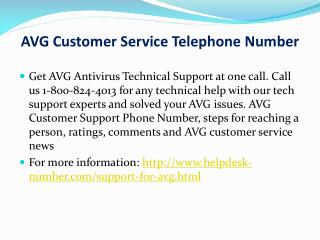 AVG Customer Service Telephone Number (1-800-824-4013)