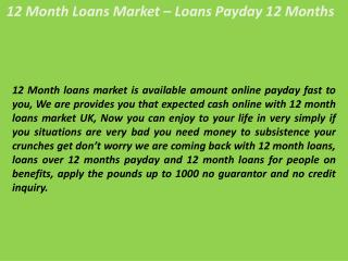 12 Month Loans For People On Benefits