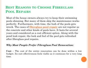 Best Reasons to Choose Fibreglass Pool Repairs