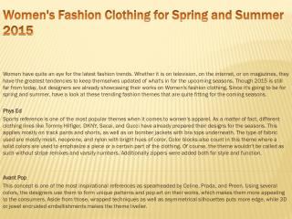 Women's Fashion Clothing for Spring/Summer 2015