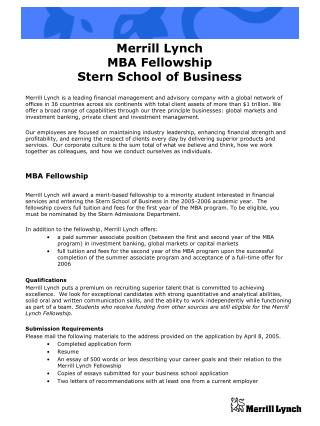 Merrill Lynch  MBA Fellowship Stern School of Business
