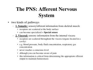 The PNS: Afferent Nervous System