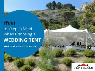 Things to consider when Choosing a Wedding Tent