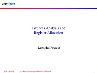 Liveness Analysis and Register Allocation