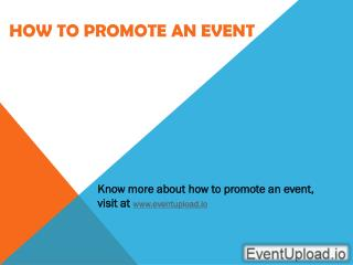 How to Promote an Event