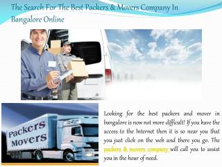 The Search For The Best Packers & Movers Company In Bangalor