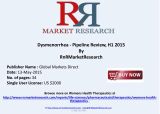 Dysmenorrhea Therapeutic Pipeline Review, H1 2015