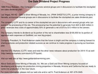 Ore Sale Dividend Project Progress