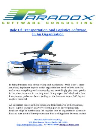 Role Of T   ransportation And Logistics Software    In An