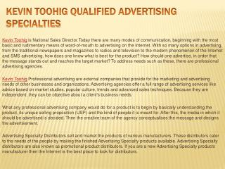 Kevin Toohig Qualified Advertising Specialties