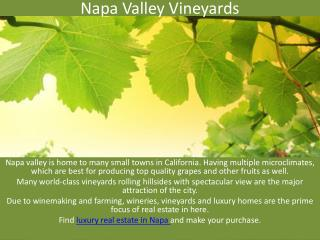 Luxury real estate in the Napa Valley