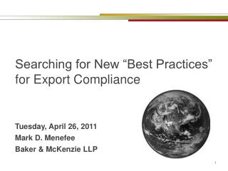 "Searching for New ""Best Practices"" for Export Compliance"