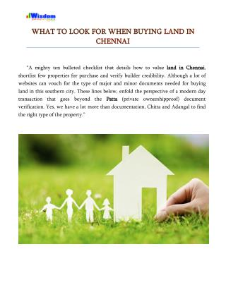 What to look for when buying land in Chennai