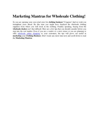 Marketing Mantras for Wholesale Clothing!