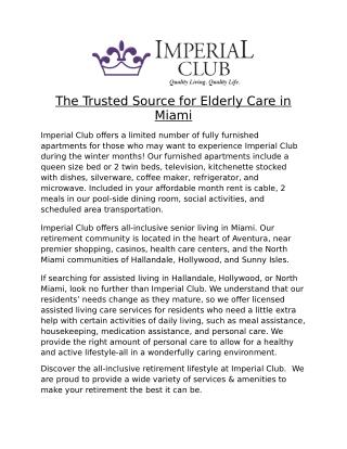 The Trusted Source for Elderly Care in Miami