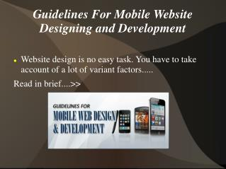 Guidelines For Mobile Website Designing And Development