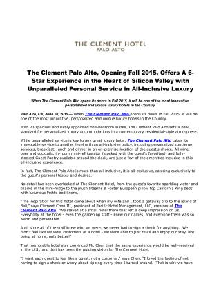The Clement Palo Alto, Opening Fall 2015, Offers A 6-Star