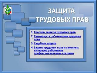 Презентация  «Защита трудовых прав»