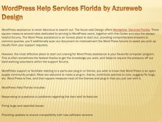 WordPress Help Services Florida by Azureweb Design
