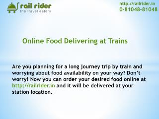 Rail Rider Special Food Service for Jain Travelers in train