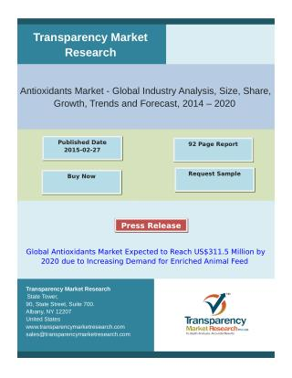 Global Antioxidants Market Expected to Reach US$311.5 Milli