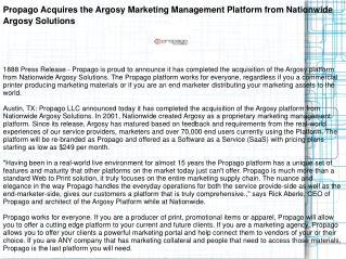 Propago Acquires the Argosy Marketing Management Platform
