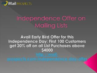 Independence Day Offers on Mailing Lists