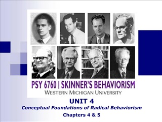 UNIT 4 Conceptual Foundations of Radical Behaviorism Chapters 4  5