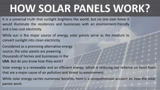 How Solar Panels Work?