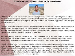 Documentary on Happiness Looking for Interviewees