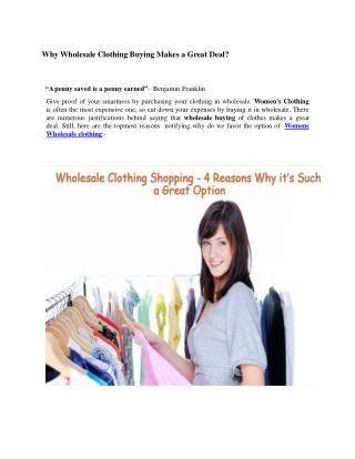 Why Wholesale Clothing Buying Makes a Great Deal?
