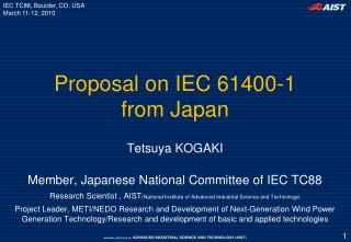 Proposal on IEC 61400-1 from Japan