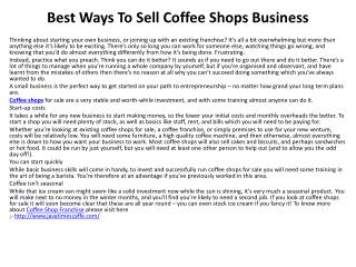 Best Ways To Sell Coffee Shops Business