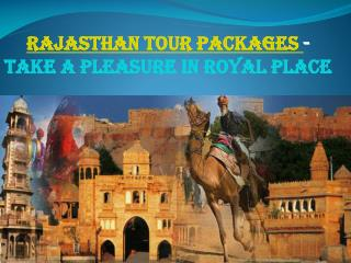 Rajasthan tour packages - Take a pleasure in Royal Place