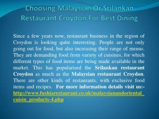 Choosing Malaysian Or Srilankan Restaurant Croydon For Best