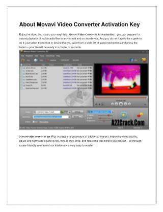 Movavi Video Converter 15 Activation Key