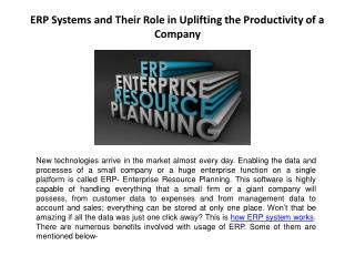 ERP Systems and Their Role in Uplifting the Productivity of a Company