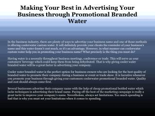 What Can A Promotional Branded Water Do For Your Company?
