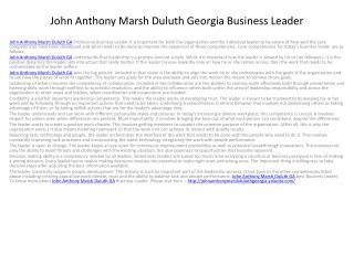 John Anthony Marsh Duluth GA Business Leader