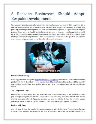 8 Reasons Businesses Should Adopt Bespoke Development