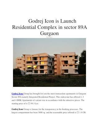 Godrej Icon Sector 88A gurgaon, flats in Sector 88A gurgaon