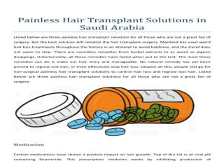 Painless Hair Transplant in Saudi Arabia