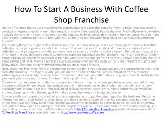 How To Start A Business With Coffee Shop Franchise
