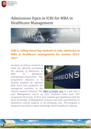 MBA in Health Care Management, Clinical Research Management