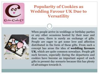 Popularity of Cookies as Wedding Favour UK Due to Versatilit